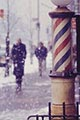 Saul Leiter Color Photograph, Barbar Pole in Snow